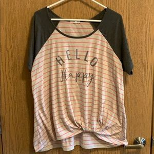 Grey/heather grey and pink stripes top